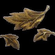Leaf Pin & Earrings Signed JJ Gold Tone