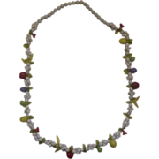 Fruit Salad White Plastic Bead Necklace