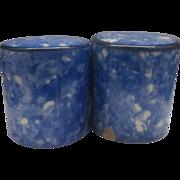Stangl Town & Country Blue Spongeware Salt Pepper Shakers