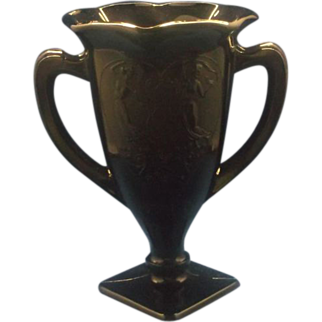 L.E. Smith Black Amethyst Glass Trophy Vase Double Handle Nymphs