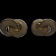 Cream Enamel Knot Loop Clip Earrings