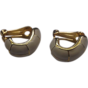 Cream Enamel Hoop Gold Tone Earrings