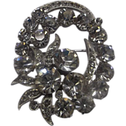 SALE Eisenberg Ice Clear Rhinestone Pin Oval Wreath