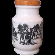 Milk Glass Bottle Black Victorian Coaching Scenes