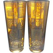 Georges Briard Gold Decorated Highball Tumblers Pair Sun Harp