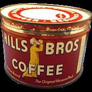 Hills Bros Coffee Tin Red Regular Grind 1 Lb Key Wind