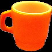 SOLD Fire-King Orange Stacking Mug Milk Glass