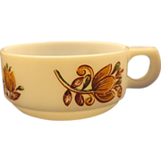 Brown Orange Tulip Milk Glass Soup Mug