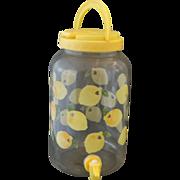 Lemon Pattern Sun Tea Beverage Dispenser Glass