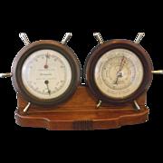 Airguide Nautical Ship's Wheel Weather Station Barometer Hygrometer