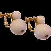 Marvella White Ball Drop Screwback Earrings