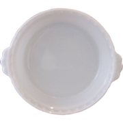 SOLD Pyrex Opal White Milk Glass Pie Plate Tab Handle Fluted Rim