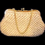 Cream Raffia Japan Clutch Handbag