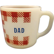SOLD Dad Red Plaid Check Gingham Milk Glass Mug Westfield