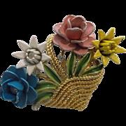 Crown Trifari Basket of Flowers Enamel Rhinestone Gold Tone Pin