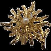 SALE Grosse 1966 Germany Gold Tone Faux Pearl Pin Flower