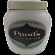 Pond's Dry Skin Cream Milk Glass Jar Still Full