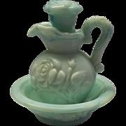 Avon Jade Green Slag Marble Glass Roses Pitcher Bowl