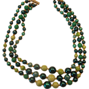 Kelly Green Triple Strand Necklace Japan Faux Pearls