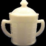 SOLD Colonial Block White Sugar Bowl With Lid Hazel Atlas Glass