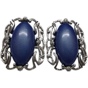 Sarah Coventry Blue Oval Thermoset Lucite Silver Tone Oval Earrings