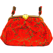 Red Black Floral Cut Velvet Chenille Carpet Bag Purse