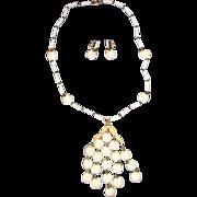 Trifari White Waterfall Apple Necklace & Earrings