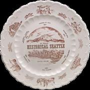 Historical Seattle Red Transferware Vernon Kilns Souvenir Plate