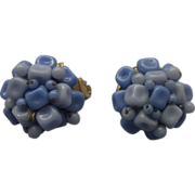 Hong Kong Pale Blue Earrings Nuggets Wired