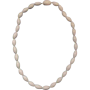 White Lucite Elongated Bead Necklace
