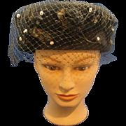 Glenover Henry Pollack Black Felted Pill Box Hat Short Veil