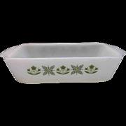 Fire-King Meadow Green Loaf Pan Milk Glass Green Flowers