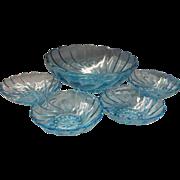 SOLD Hazel Atlas Capri Swirl Bowl Set Salad Dessert Berry - Red Tag Sale Item