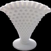 Fenton White Hobnail Milk Glass Fan Vase 389/3957