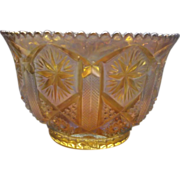 SOLD Imperial Glass Star & File Marigold Carnival Nut Bowl