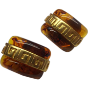 Root Beer Lucite Gold Tone Greek Key Clip Earrings