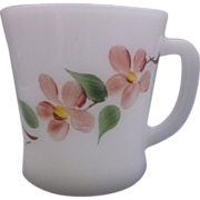 SOLD Gay Fad Peach Blossom Fire-King D Handle Mug Milk Glass - Red Tag Sale Item