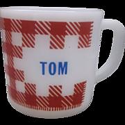 Tom Red Check Gingham Plaid Milk Glass Mug Westfield Federal