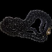 Lady Remington LR Signed Black Glass Beads Long Necklace