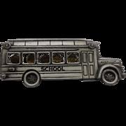 SALE JJ Jonette Jewelry School Bus Pin Pewter Tone