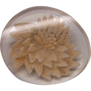 Reverse Carved Lucite Chrysanthemum Pin
