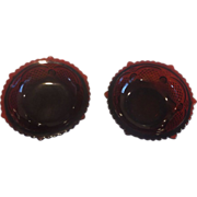 Avon Cape Cod Ruby Red Glass Footed Dessert Fruit Bowls Pair