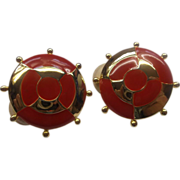 Red Nautical Ship's Wheel Enamel Gold Tone Clip Earrings