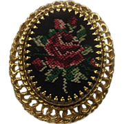Red Rose Black Needlepoint Gold Tone Oval Pendant Pin