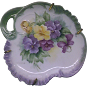 SOLD Hand Painted Pansies Small Plate Dish Single Handle - Red Tag Sale Item