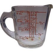 Pyrex Red Print Measuring Cup 1 Cup