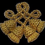 SALE Rope Tassel Knot Brooch Pin Gold Tone