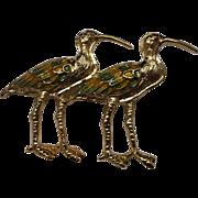 Enamel Gold Tone Birds Pair Pin Herons Cranes