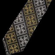 Super Skinny Black Jacquard White Gold Necktie