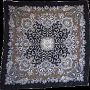 "Echo Black Grey Gold White Paisley Silk Scarf Square 30"""